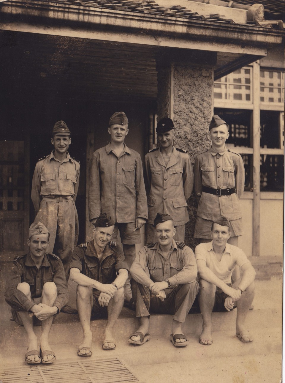 Dr MacCarthy (2nd from right in front row) at Camp 26, Keisen