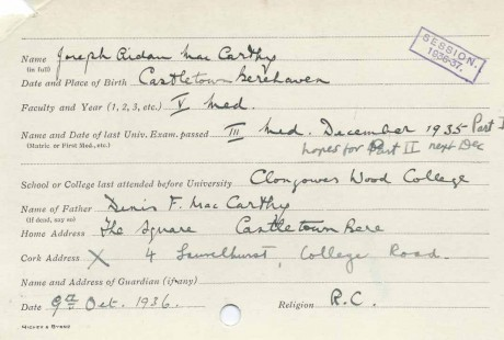 UCC registration card 1936